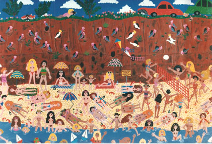 naive painting by Marie Jonsson-Harrison called Let it all hang out, with naked people on a nude beach