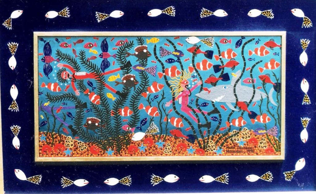 naive art by artist marie jonsson-harrison of fish and divers meeting sharks underwater