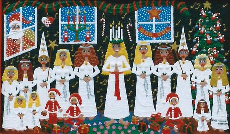 girl with a wreath and candles in her hair singing Lucia songs in a traditional Swedish way clad all in white