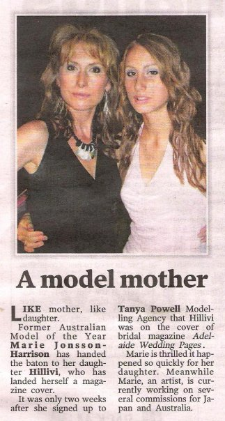 The Advertiser article & photo of Australian Model of the year, Artist Marie Jonsson-Harrison & Hillivi Harrison