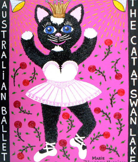 Naive painting of a ballet dancing cat, called Moggy Fontain,by artist Marie Jonsson-Harrison