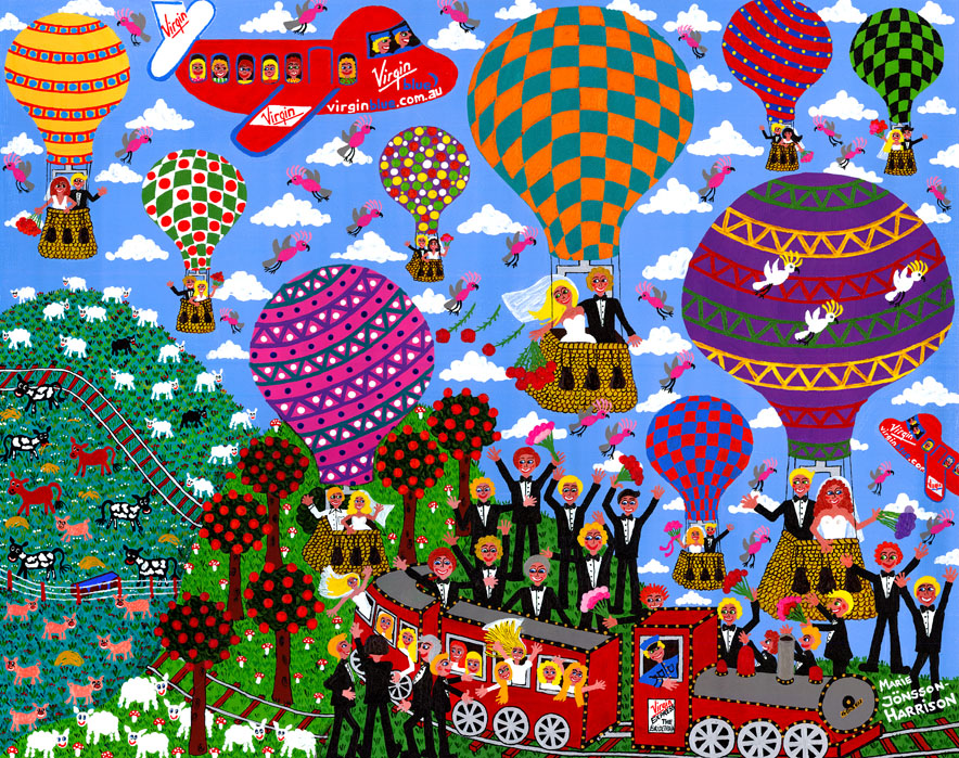 painting of virgin airplanes and brides in hot air balloons and a train by artist marie jonsson-harrison