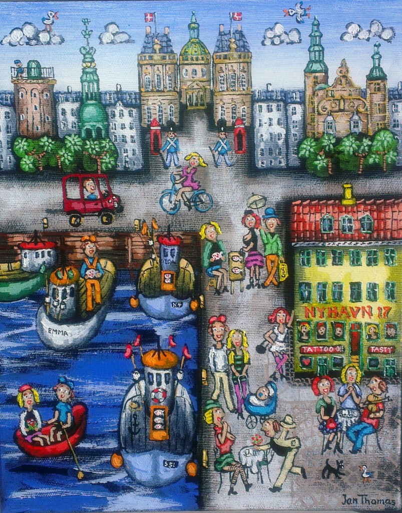 Danish naive artist Jan Thomas from  Gallery Knud Grothe, port inspired painting
