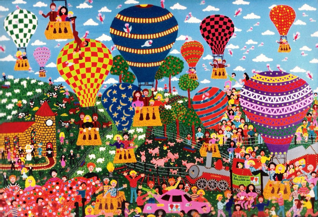 hot air balloons flying over farm land with sheep,pigs, cows and fruit trees