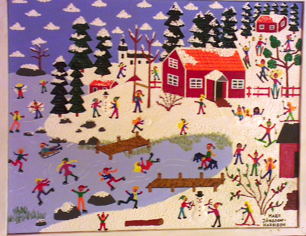 painting of a Swedish winterland, red cottage and people ice skating on a lake in naive style