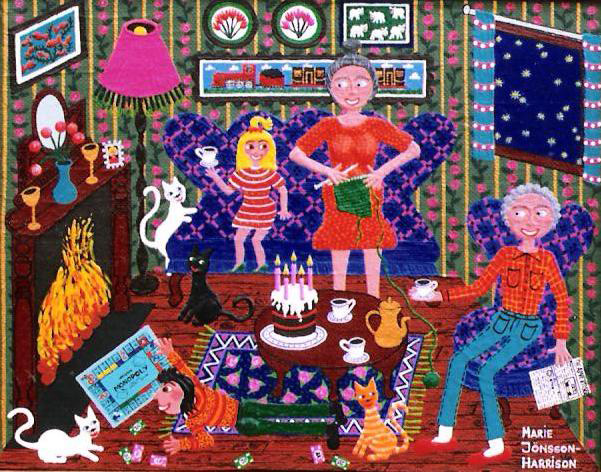 outsider artist Marie Jonsson-Harrisons colorful painting of an old couple sitting by a cosy fire
