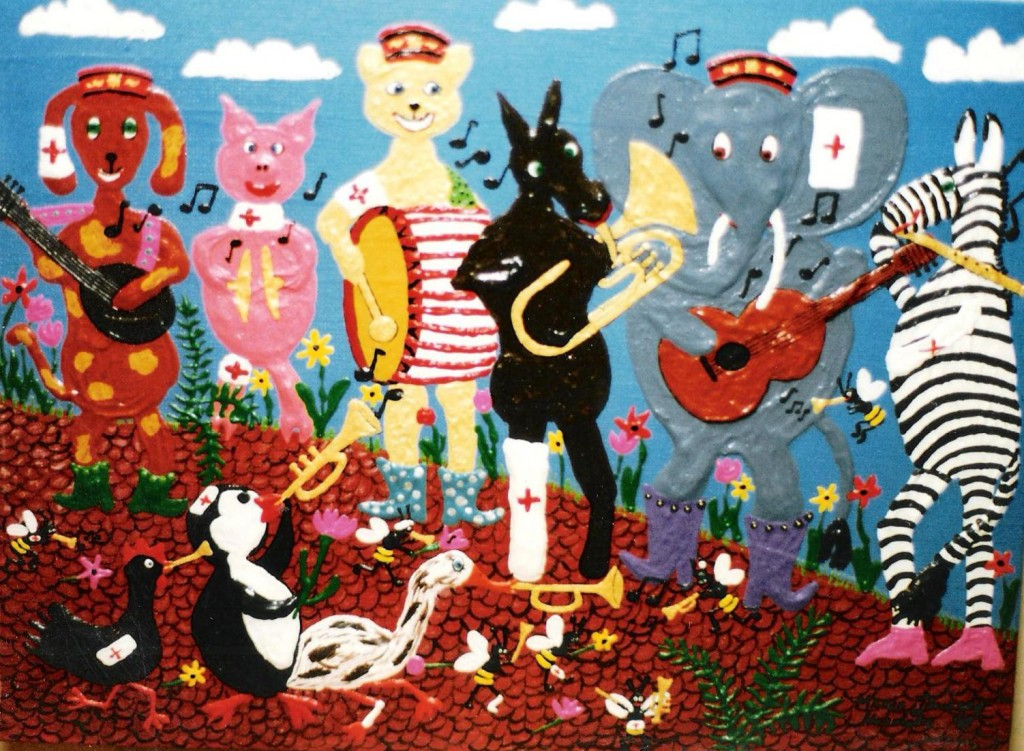 painting in the naive genre of a band made up of a pig,dog,bear,horse,elephant,zebra,penguin,chicken and duck playing instruments.