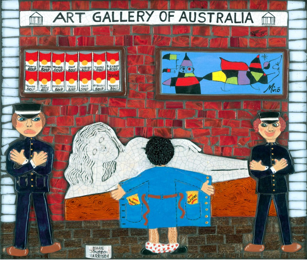 giclee print called Expose yourself to art,shows a man flashing a statue at the art gallery in from a painting in ceramic and mosaic