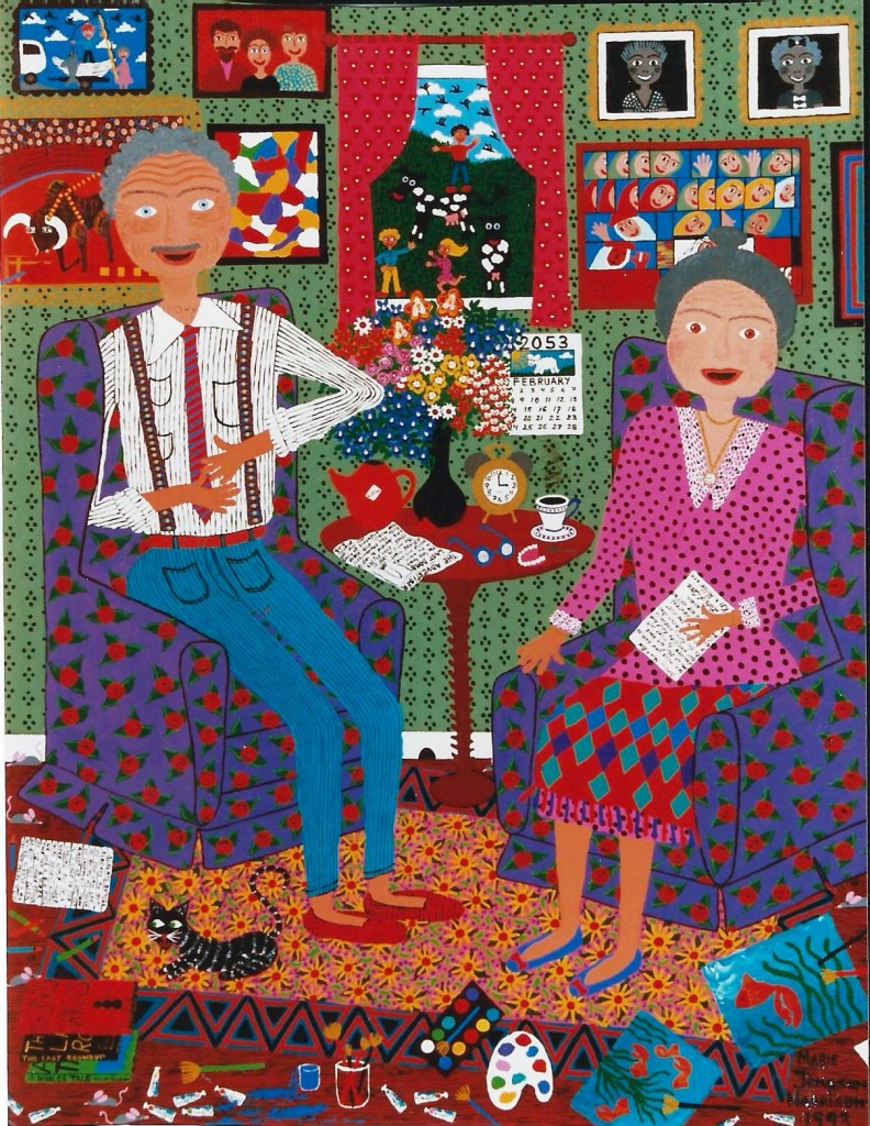 colourful painting of 2 old folks, a man and a woman in a sitting room