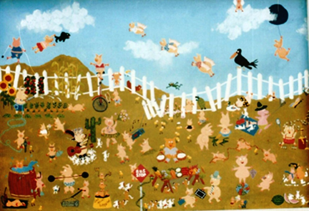 pigs in mud,naive style by artist Marie Jonsson-Harrison
