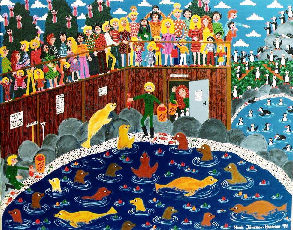 painting of seals at the zoo by artist in a colorful naive way