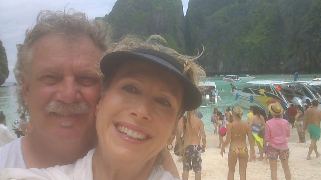 selfie,artist marie jonsson harrison and hubby at Mya Bay, Phuket, Thailand