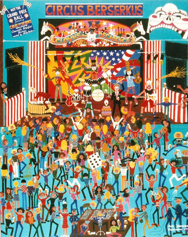 Outsider artist Marie Jonsson-Harrisons painting Shake,Rattle & Roll depicts the punk band Clowns of Decadence on stage