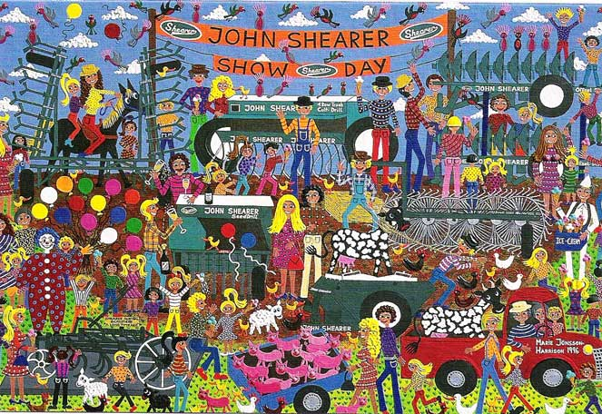 show day painting features John Shearer agricultural equipment and happy people in naive style