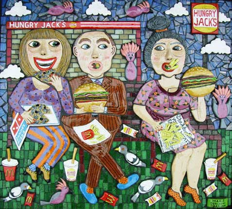 sculpture by outsider artist marie jonsson harrison in ceramic and mosaic of people gorging themselves on fast food