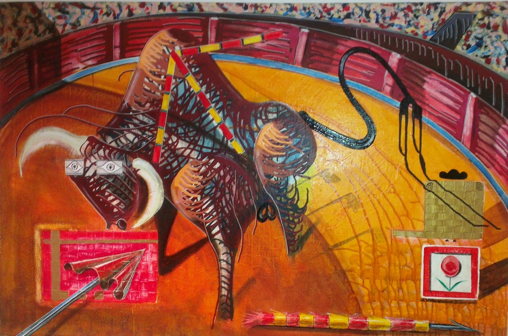 contemporary artist and sculptor Ted Jonssons Spanish Bull fighting painting inspired by his travels in Spain