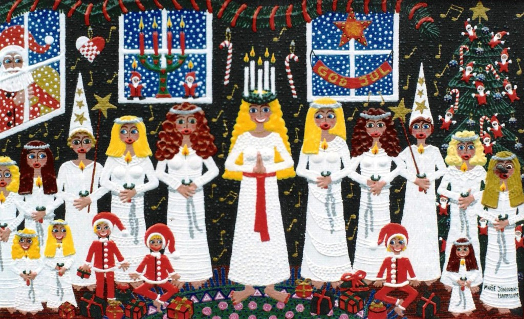 Swedish Saint Lucia tradition with girls all in white and a wreath of candles in their hair,celebrating 13th December