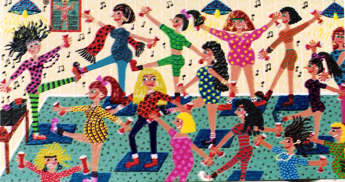 painting of an exercise class doing aerobics by artist marie jonsson-harrison