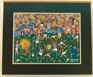 Aussie-Rules-Football-painting-of-St-Kilda-and-North-Melbourne-by-artist-Marie-Jonsson-Harrison-with-a-streaker