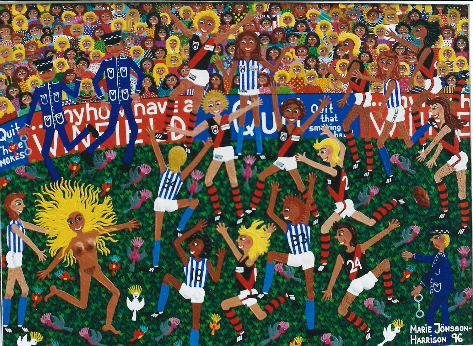 painting-of-Football-Aussie-Rules-painting-St-Kilda-and-North-Melbourne-by-artist-Marie-Jonsson-Harrison-featuring-Troy-Gray