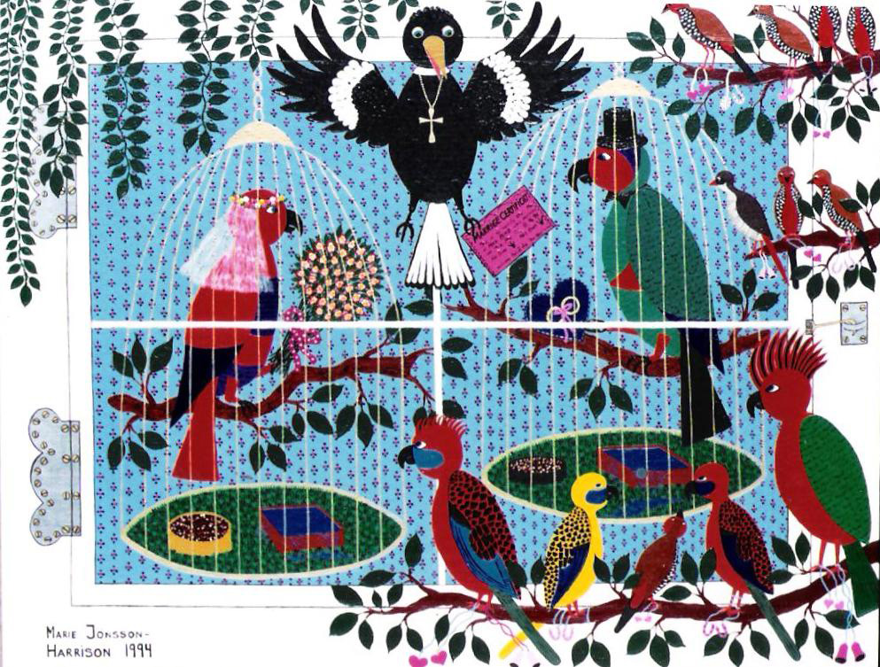 naive artist Marie Jonsson-Harrison's painting of birds getting married by the priest who is a magpie