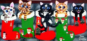 naive cats on christmas stockings painted by marie jonsson harrison which won an award